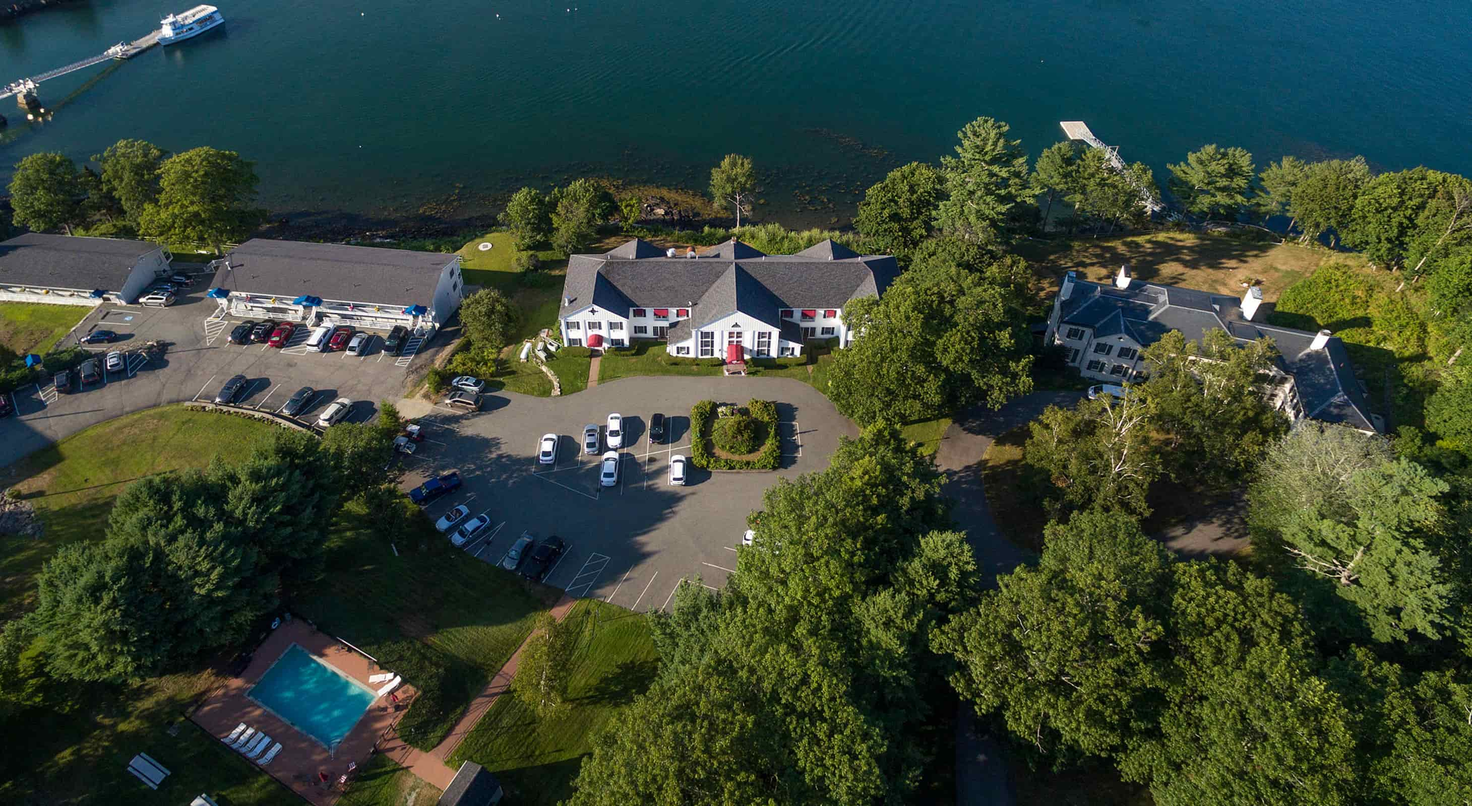 Aerial view of our Bar Harbor boutique hotel