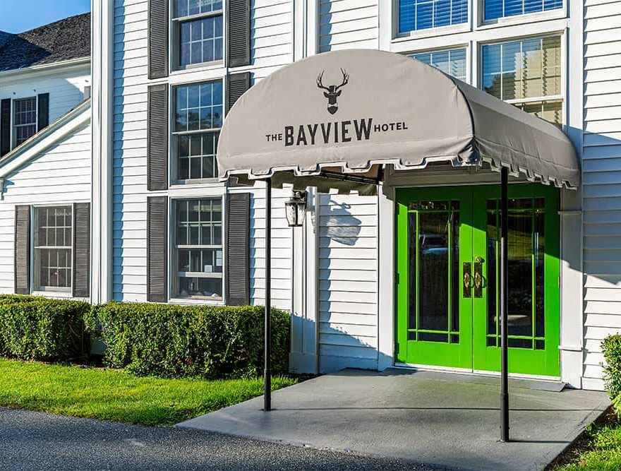 Front Door with awning that says Bayview Hotel
