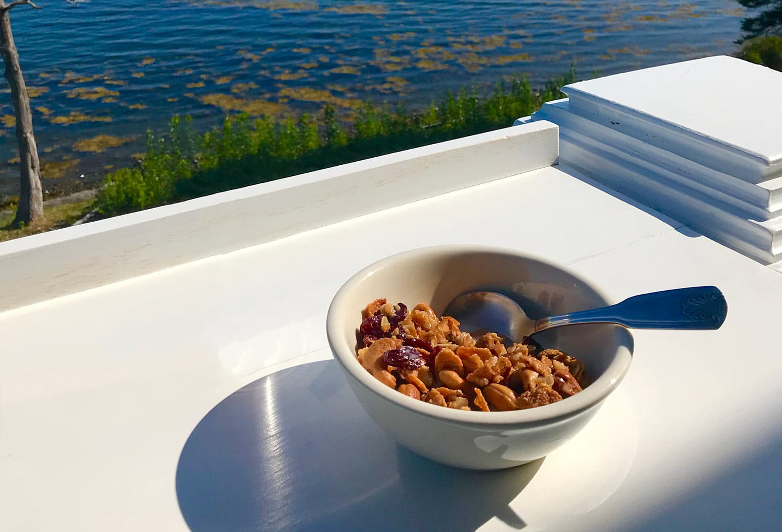 Granola Breakfast with Water view