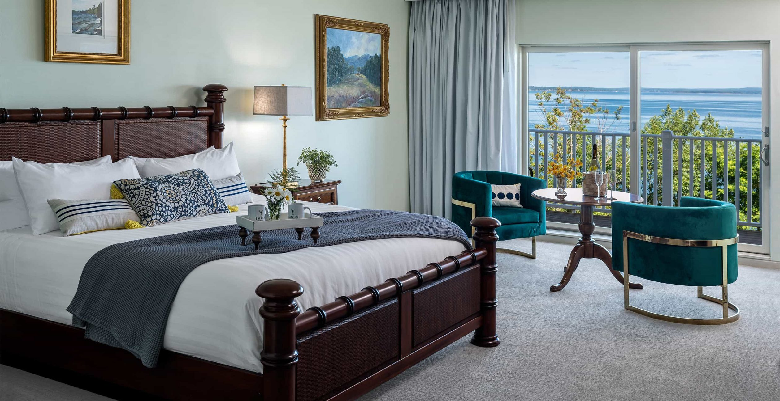 King Bed in Island Level Room at our boutique hotel in Bar Harbor