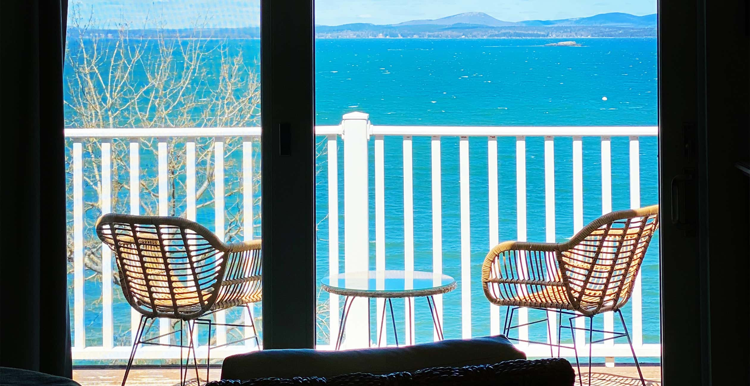 Outdoor Deck View at our boutique hotel in Bar Harbor