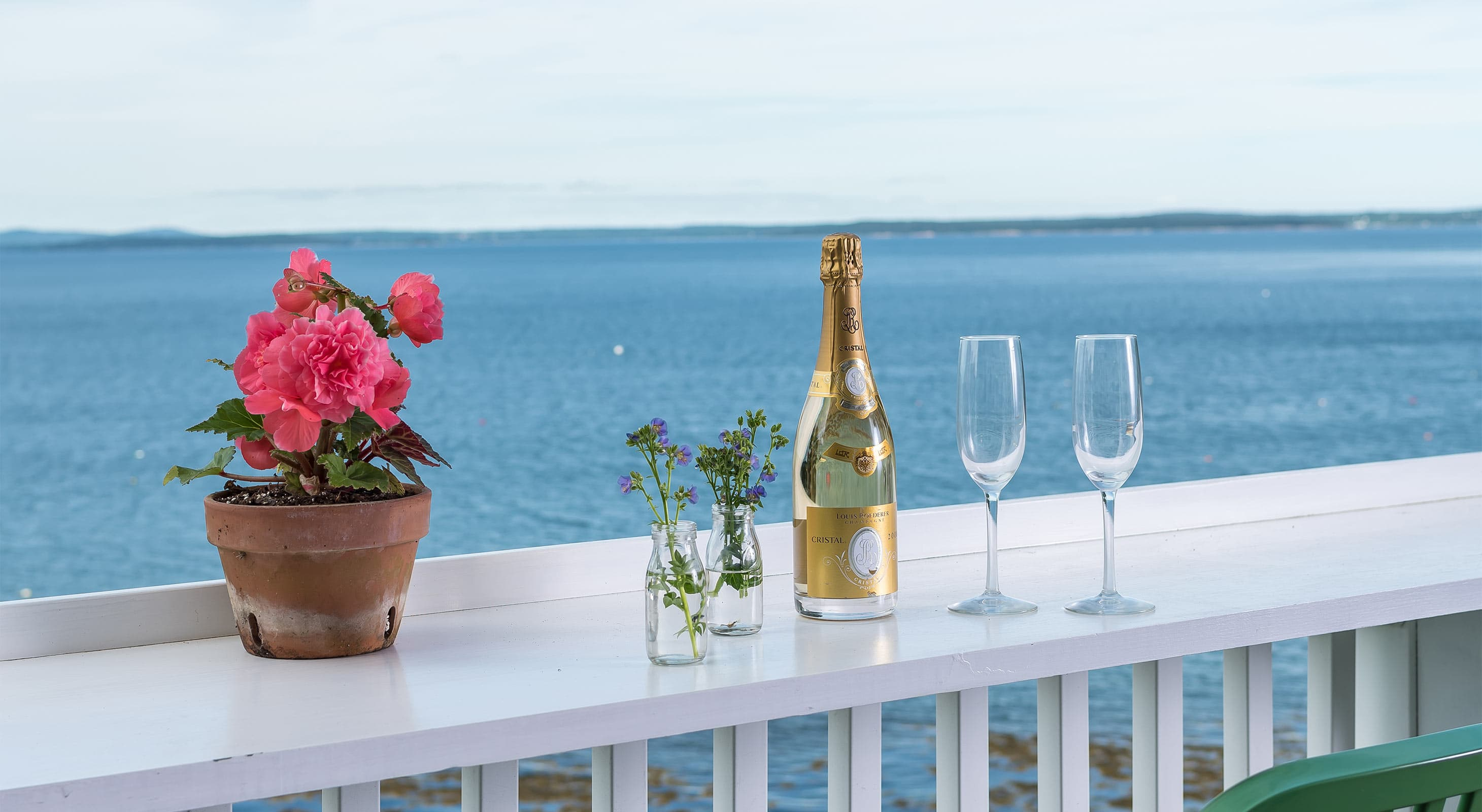 Champagne and flutes on Bayview Deck