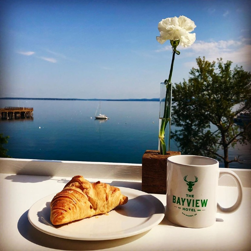 pastry and coffee ocean view